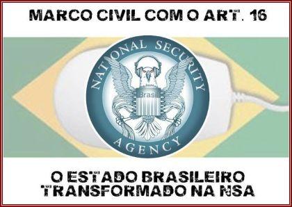 Batizada de #16igualNSA, a campanha aponta para a contradição entre o Brasil ser um dos países do mundo que sofre com a vigilância da Agência de Segurança Nacional (NSA) norte-americana e a implementação da regra.