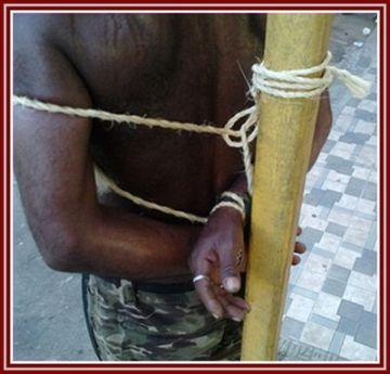 Francisco do Nascimento ficou amarrado a um poste com cordas por mais de duas horas.